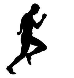 black silhouettes runners sprint men on white vector image
