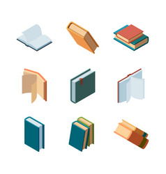 books isometric diary open and closed magazines vector image