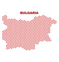 bulgaria map - mosaic of heart hearts vector image