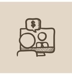 Business video negotiations sketch icon vector