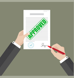 Businessman hold approved document with left hand vector