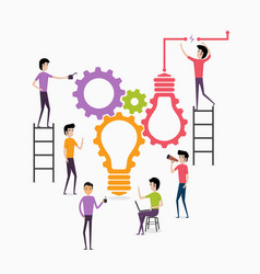 businessmen and teamworkcreative light bulb and vector image