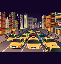 busy city in the evening vector image