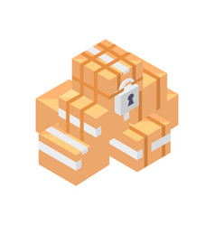 Cardboard boxes isometric icon vector