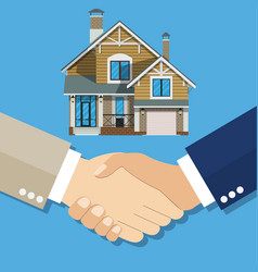 cartoon businessman handshake deal purchase home vector image