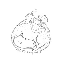 cartoon cute wolf isolated object on white vector image