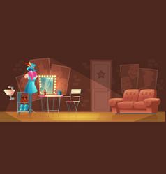 Cartoon interior of empty dressing room vector