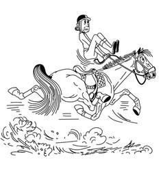 Cartoon trotting horse outline vector