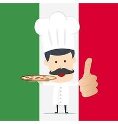 Chef serving pizza on the dish vector image