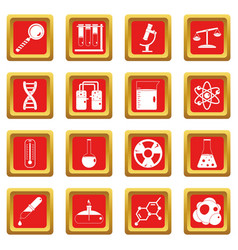 Chemical laboratory icons set red vector