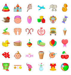 Children thing icons set cartoon style vector