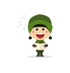 Christmas child singing carols vector