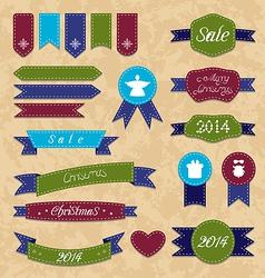 Christmas set geometric emblems and ribbons vector image vector image