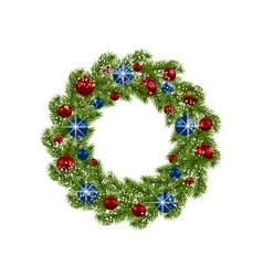 Christmas wreath Green fir branches with red and vector image