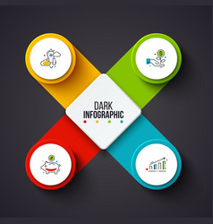 Circles infographic on a dark background vector