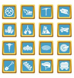Coal mine icons set sapphirine square vector