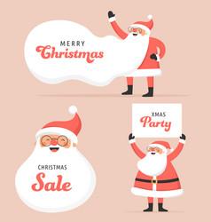 collection happy santa clauses dancing vector image