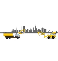 Construction machinery in city vector