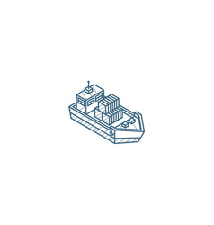 container cargo ship isometric icon 3d line art vector image