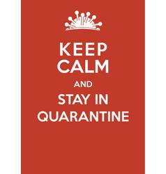 coronavirus poster keep calm and stay vector image