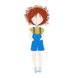 cute and happy child girl with curly red hair vector image