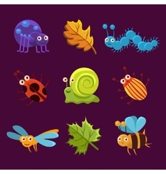 Cute Insects and Leaves with Emotions vector image