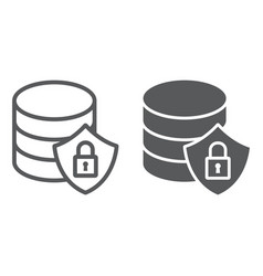 database protection line and glyph icon vector image