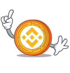 Finger binance coin mascot catoon vector