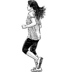 girl jogging vector image