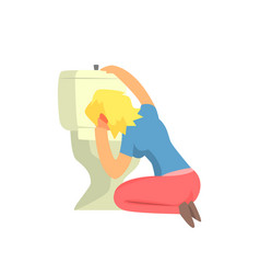 girl vomiting in toilet nauseous adult person vector image