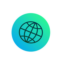 globe net icon or button earth silhouette on rou vector image