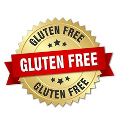 Gluten free 3d gold badge with red ribbon vector