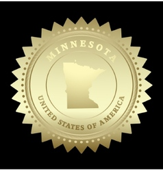 Gold star label Minnesota vector