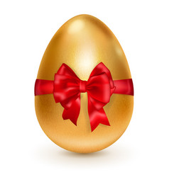 Golden easter egg with red bow vector