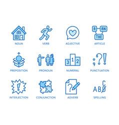 Grammar education flat line icons set parts of vector