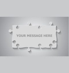 Grey puzzle rectangle banner puzzle jigsaw vector
