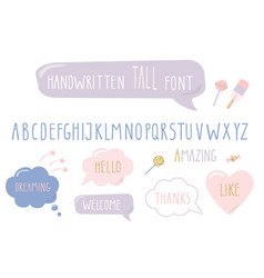 hand drawn narrow font tall alphabet doodle vector image