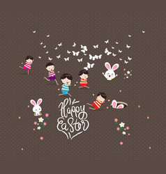 happy easter kids bunny bunny grass vector image