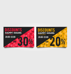 Happy hour discount cards with fast food pattern vector