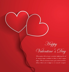 Happy Valentine Day Background with red hearts vector image