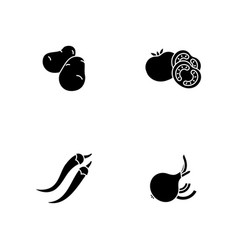 healthy eating black glyph icons set on white vector image
