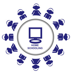homeschooling icon with pupiles vector image