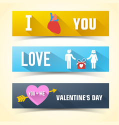 horizontal valentines banner set vector image