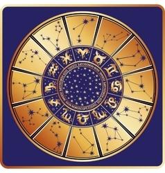 Horoscope circleZodiac signconstellationsstars vector image