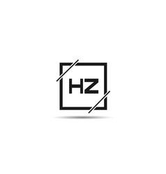 initial letter hz logo template design vector image