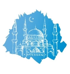Islamic mosque Blue background vector
