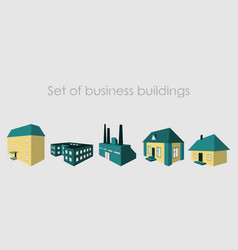 Isolated city buildings icon set different vector