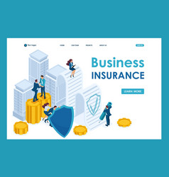 Isometric businessmen insure their assets vector