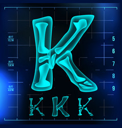K letter capital digit roentgen x-ray vector