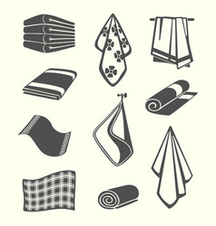 Kitchen and room service towels napkins textile vector
